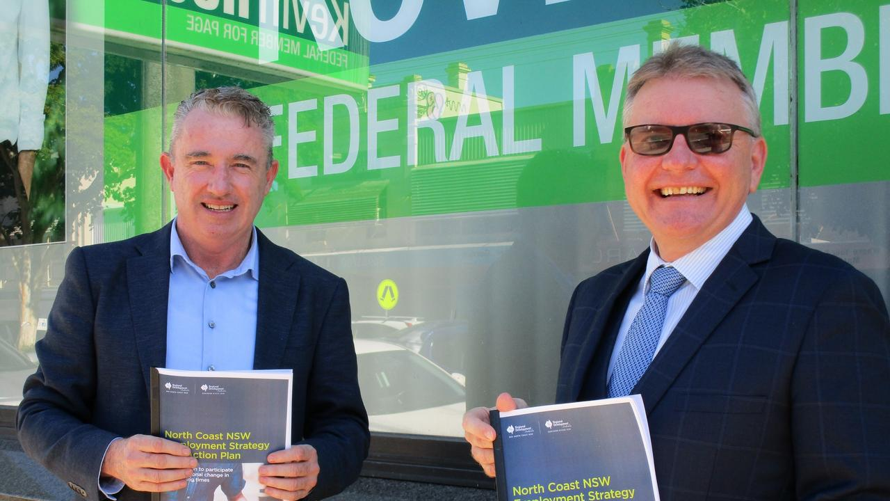 PAGE MP Kevin Hogan and Tim Williamson from RDA Northern Rivers launched the North Coast NSW Employment Strategy and Action Plan.