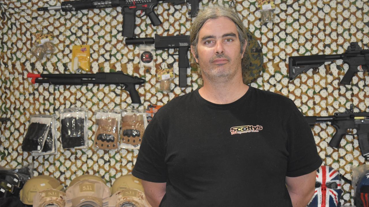 HAVING A BLAST: Aaron Mockeridge spends much of his time at work repairing and refurbishing gel blasters when not serving customers.