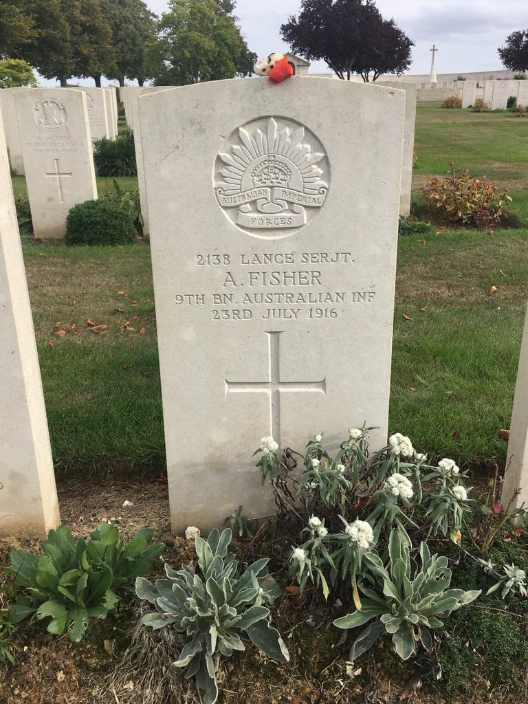 Archie Fisher's grave in Pozieres. (Picture: Richard Kerr)
