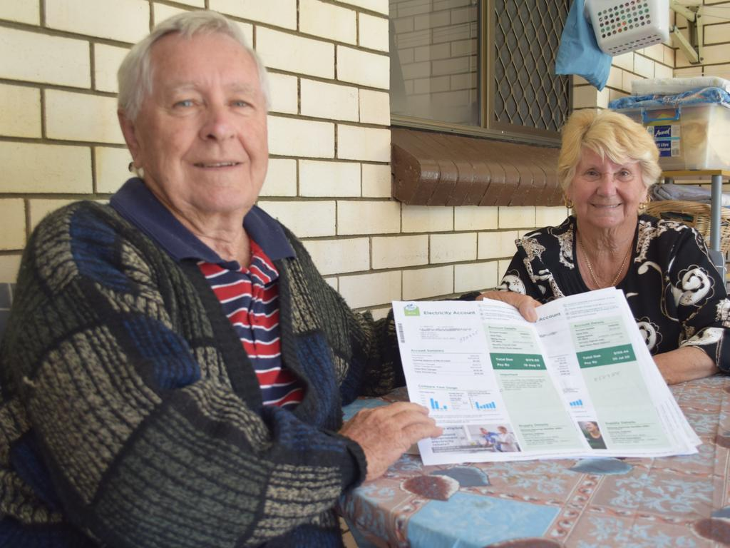 POWER REBATE: Russell and Mary Darcy show off their reduced power bill. Photo: Stuart Fast