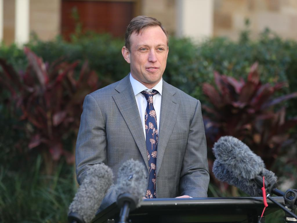Deputy Premier Steven Miles talks about the new Covid cases that have been detected in Queensland. Photo: File