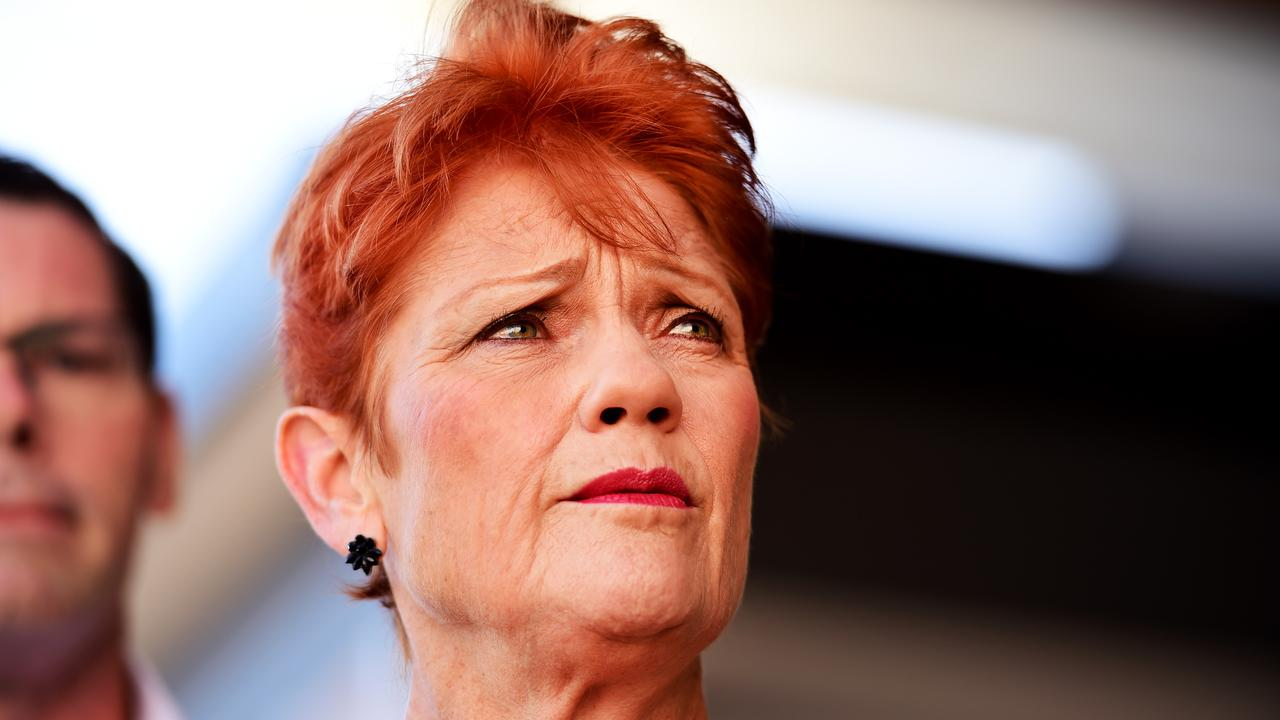 Pauline Hanson in Townsville to endorse her One Nation Candidate for Thuringowa, Troy Thompson. Photo: Alix Sweeney