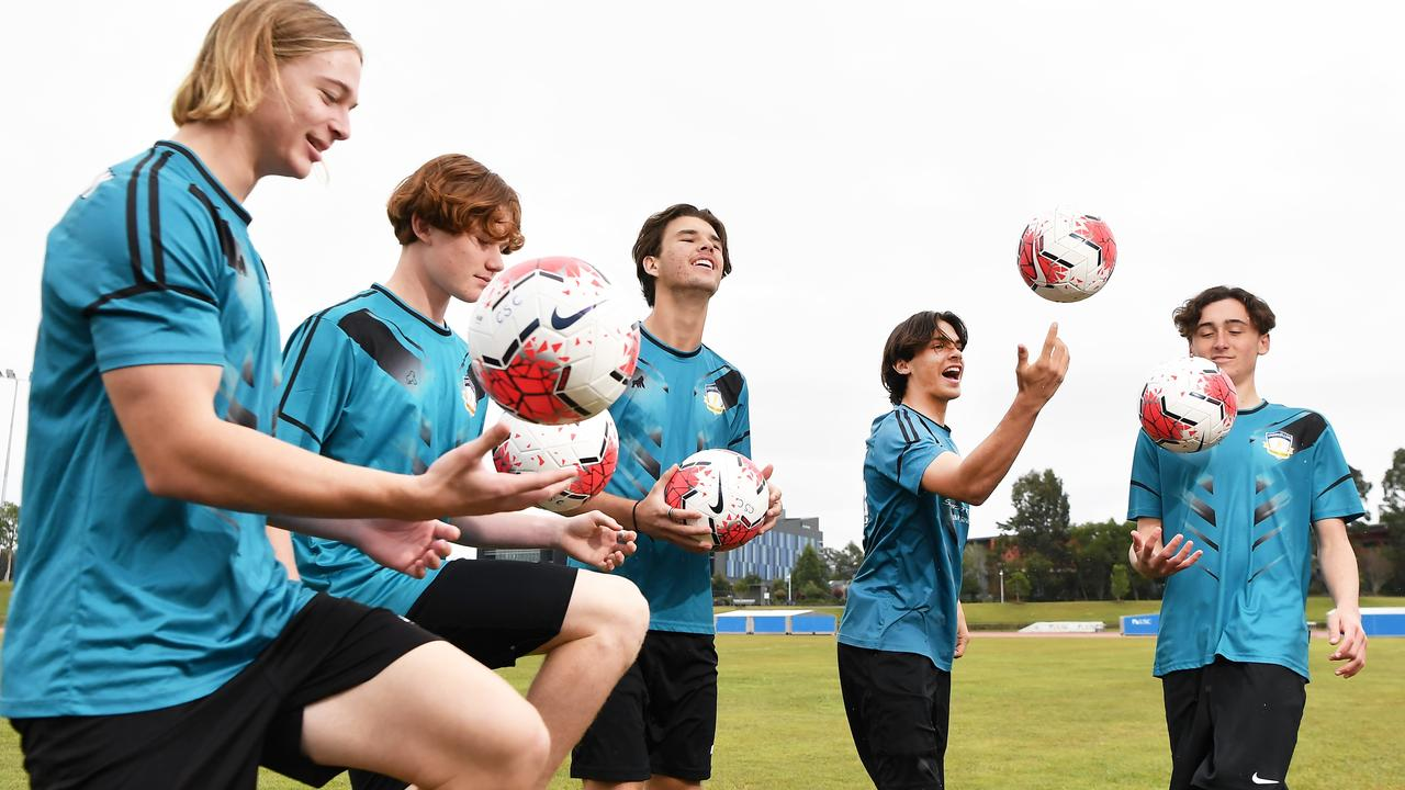 Chancellor College students are competing in the Schools Premier League next week. Pictured, Trent Watkin, Connor Demerutis, Will Brown, Kane Gibbs and Flynn De Luca. Photo: Patrick Woods / Sunshine Coast Daily.