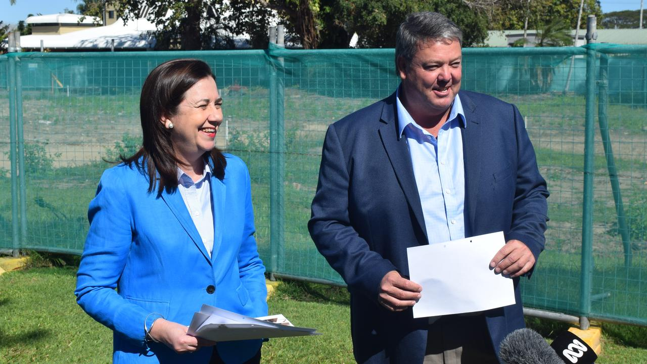 Premier Annastacia Palaszczuk announced an addition $8 million in funding for the Proserpine Entertainment Centre with Mayor Andrew Willcox in Proserpine this week. Photo: Laura Thomas