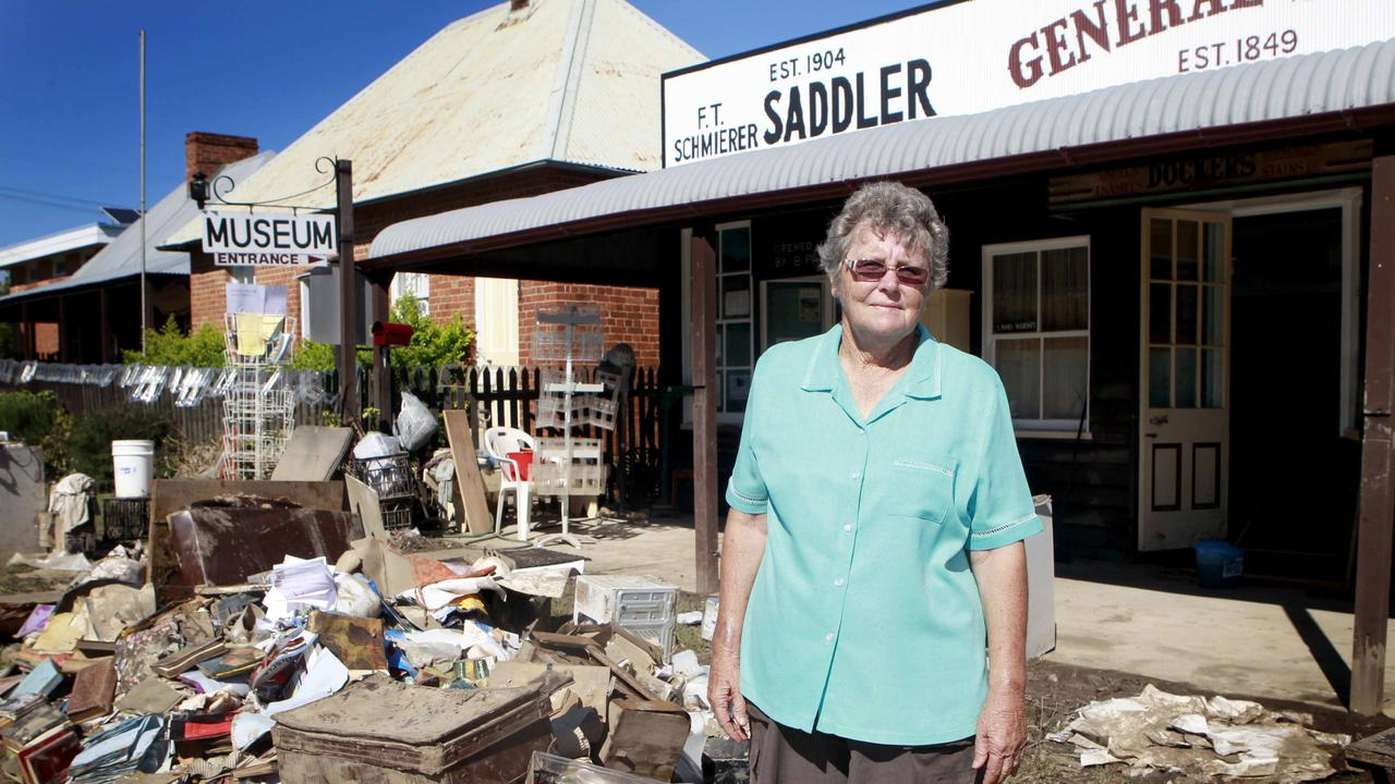 Synthia Berthelsen, cleans up the local tourist centre in Gayndah in 2013. Picture: Jono Searle