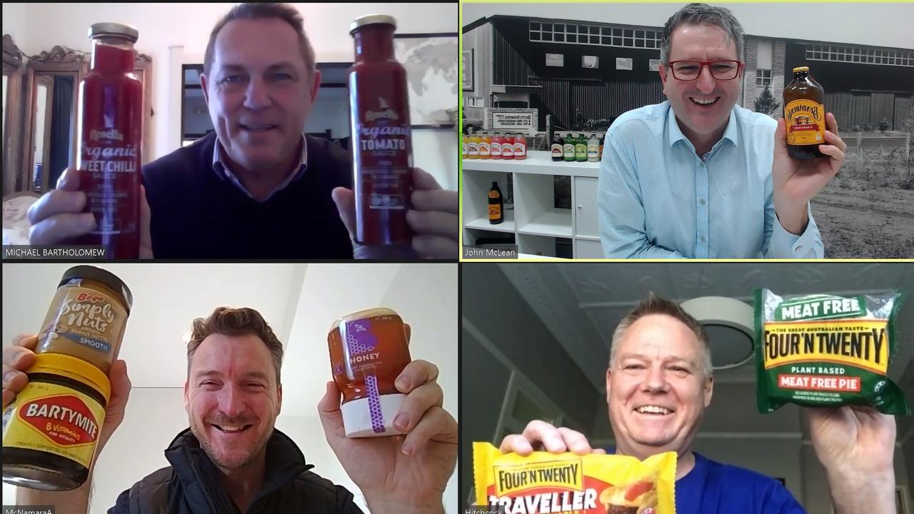 THE AUSSIE WAY: Rosella CEO Michael Bartholomew, Bundaberg Brewed Drinks CEO John McLean, Bega Foods executive general manager Adam McNamara and Patties Foods CEO Paul Hitchcock during their virtual meeting.