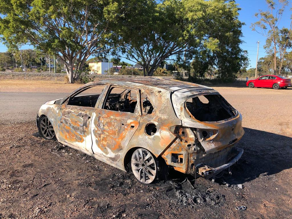 A stolen car burnt out in West Gladstone.