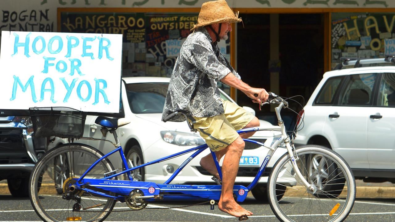 Mayoral Candidate Chris Hooper gets his message out in a very low key kind of way. He can be seen cycling around Rockhampton on one of his unique bikes. Photo: Chris Ison / The Morning Bulletin