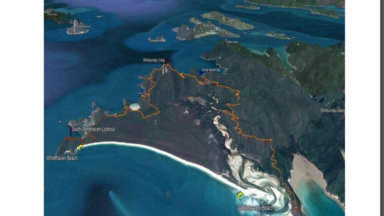 Preliminary mapping of the Whitsunday Island Craig Trail.