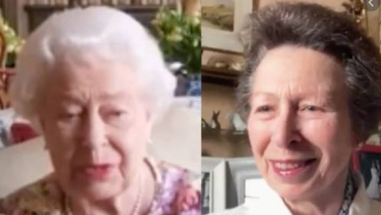 Footage shows Princess Anne teaching the Queen to use Zoom