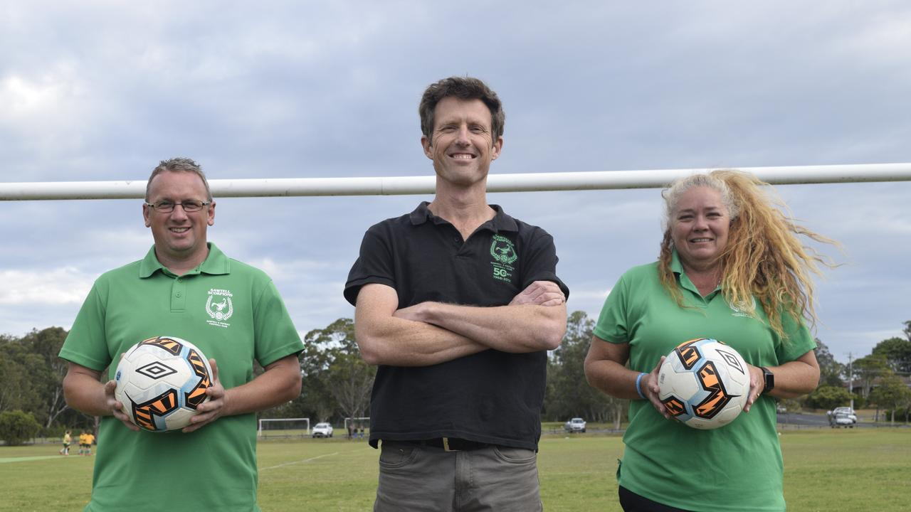 QUALITY TEAM: Sawtell FC new men's coach Jody Jenkins, president Simon Portus and women's coach Rachael Oberleuter.
