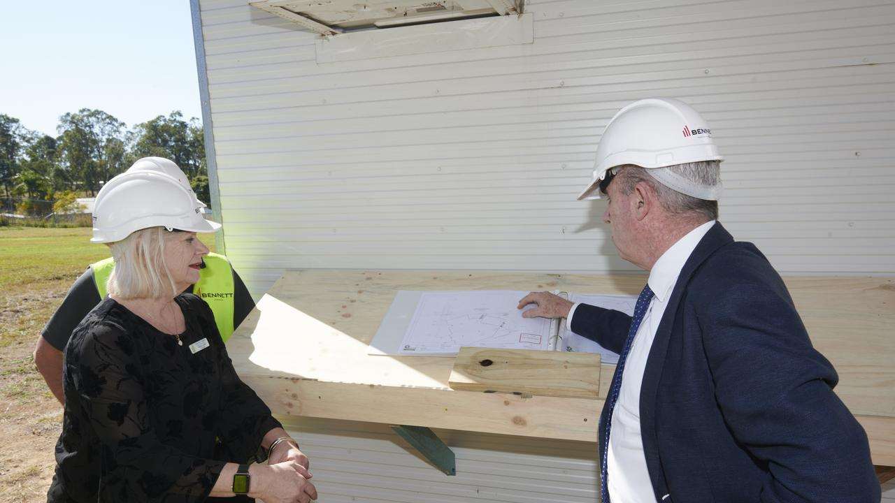 Member for Page Kevin Hogan with Clarence Valley Anglican School principal Karin Lisle looking over plans for the school's new performing arts centre.
