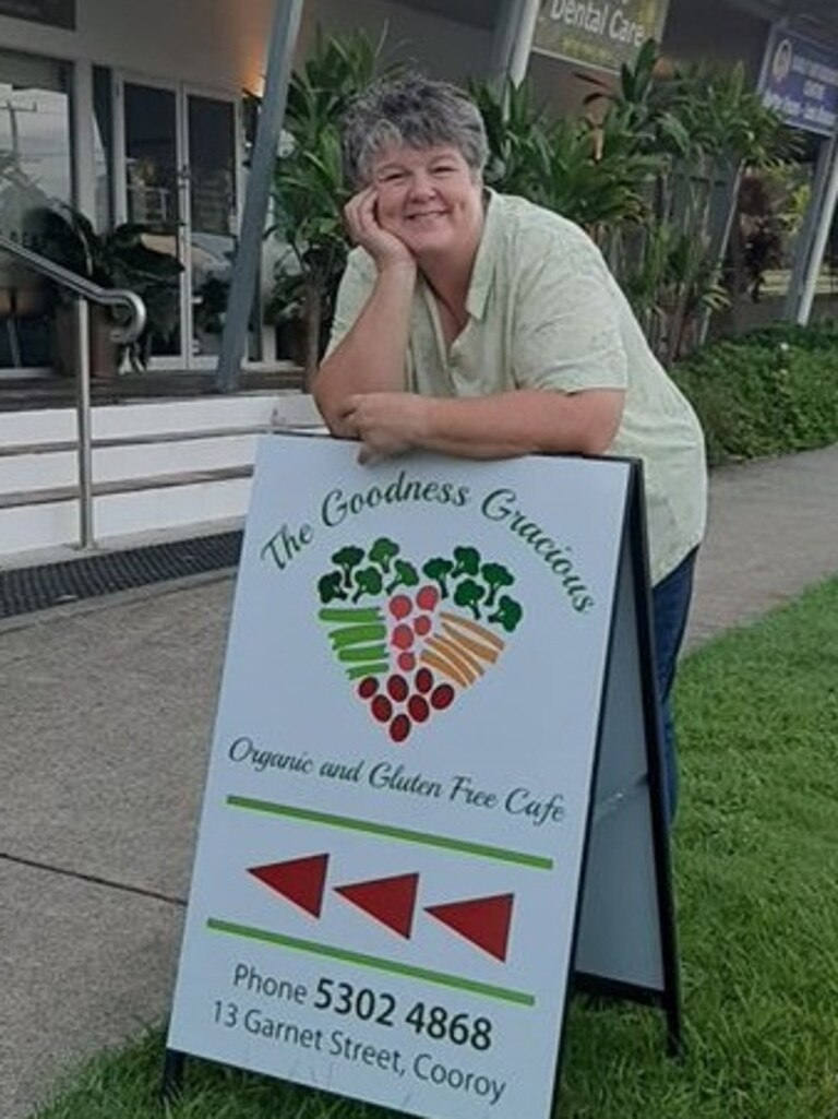 Jill Milne outside her Cooroy cafe, Goodness Gracious Organic and Gluten Free Cafe.