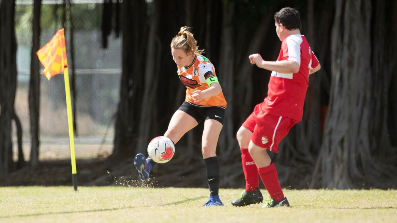 Sari Goodall driving the ball into the goal box on an attacking raid. Photo: Contributed