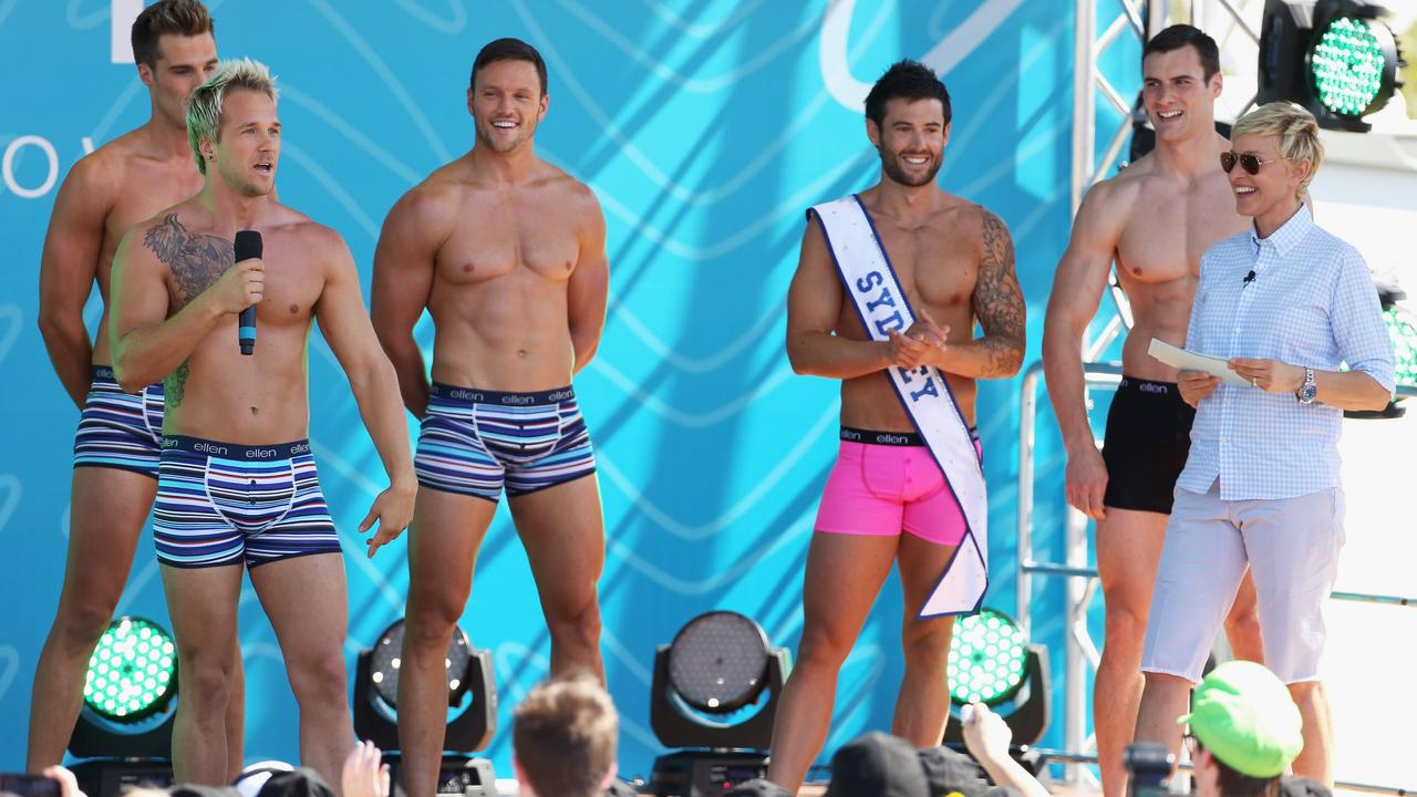 Ellen DeGeneres hosts an underwear modelling contest during her Melbourne show at Birrarung Marr on March 26, 2013 in Melbourne.