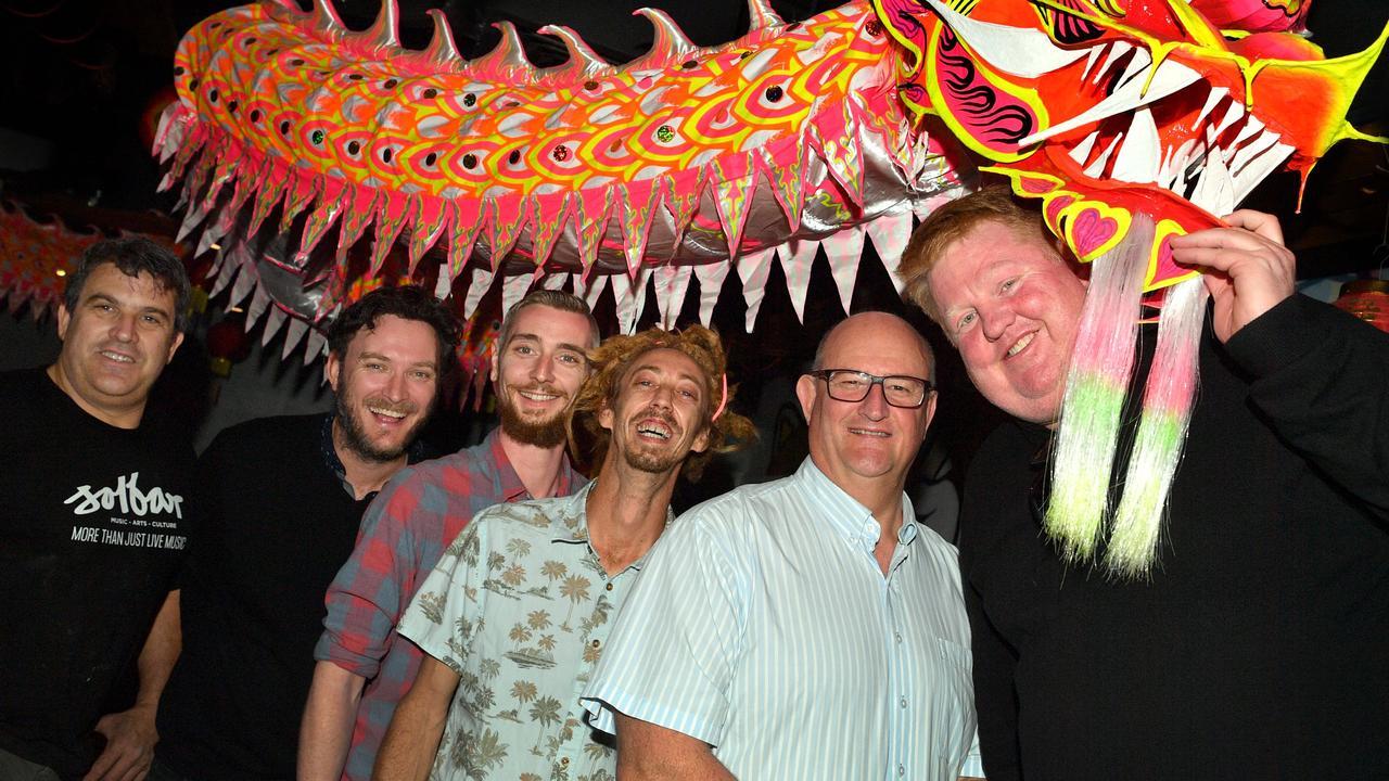 Solbar's Alex Johns (second from left) with other Ocean St business operators Dimitris Limnatitis, Matt Turner, Mick Wallace, John Calcino and Scott Hoskins.