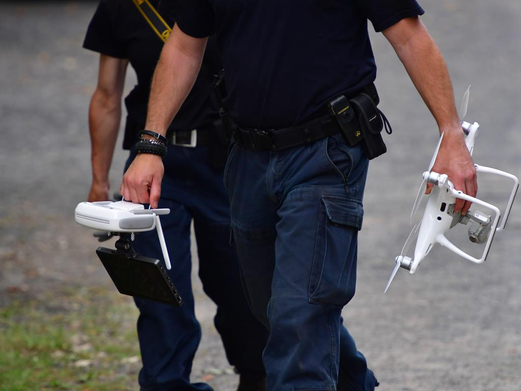 Police prepare a drone to overfly an allotment as police continue to search the area in relation to the disappearance of Madeleine McCann. Picture: Getty Images