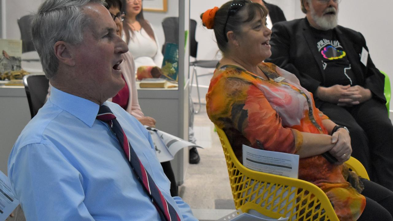 Mackay Regional Council mayor Greg Williamson and councillor Alison Jones (With One Voice's Greg Webb in background) singing in the choir at the With One Voice launch at Jubilee Community Centre, Mackay. Picture: Heidi Petith