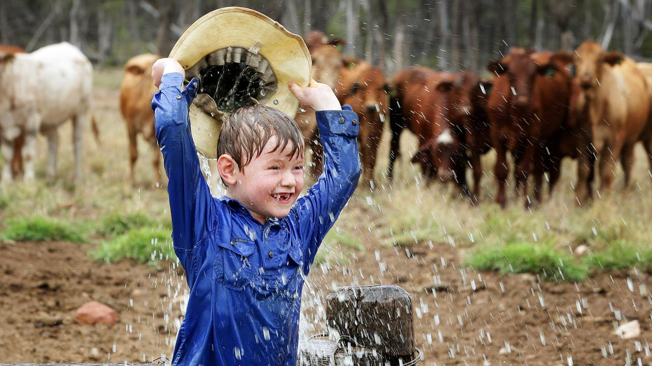 Lewis Anderson, 6, playing in the water on his farm in the Kilcummin area north of Clermont. Photographer: Liam Kidston.