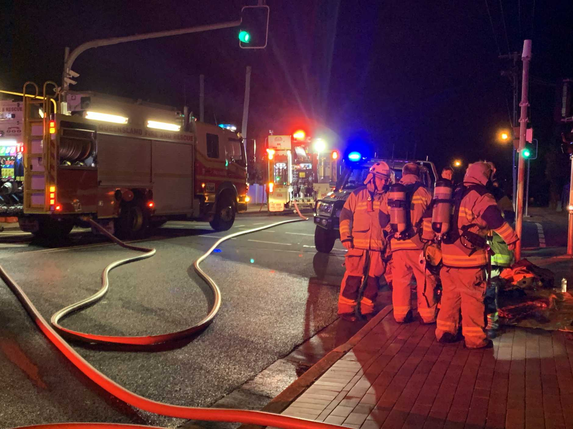 The scene of a unit fire at Pialba on Friday night.