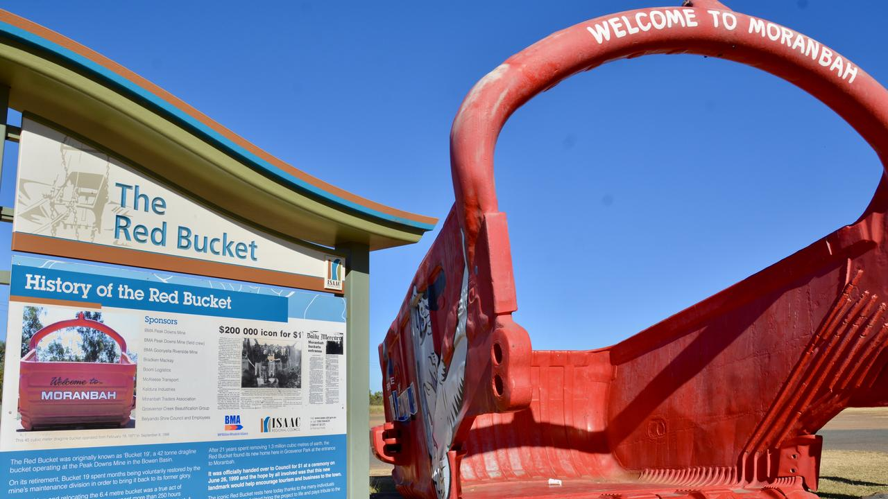 The Moranbah red bucket at the entry to the mining town. Picture: Rae Wilson