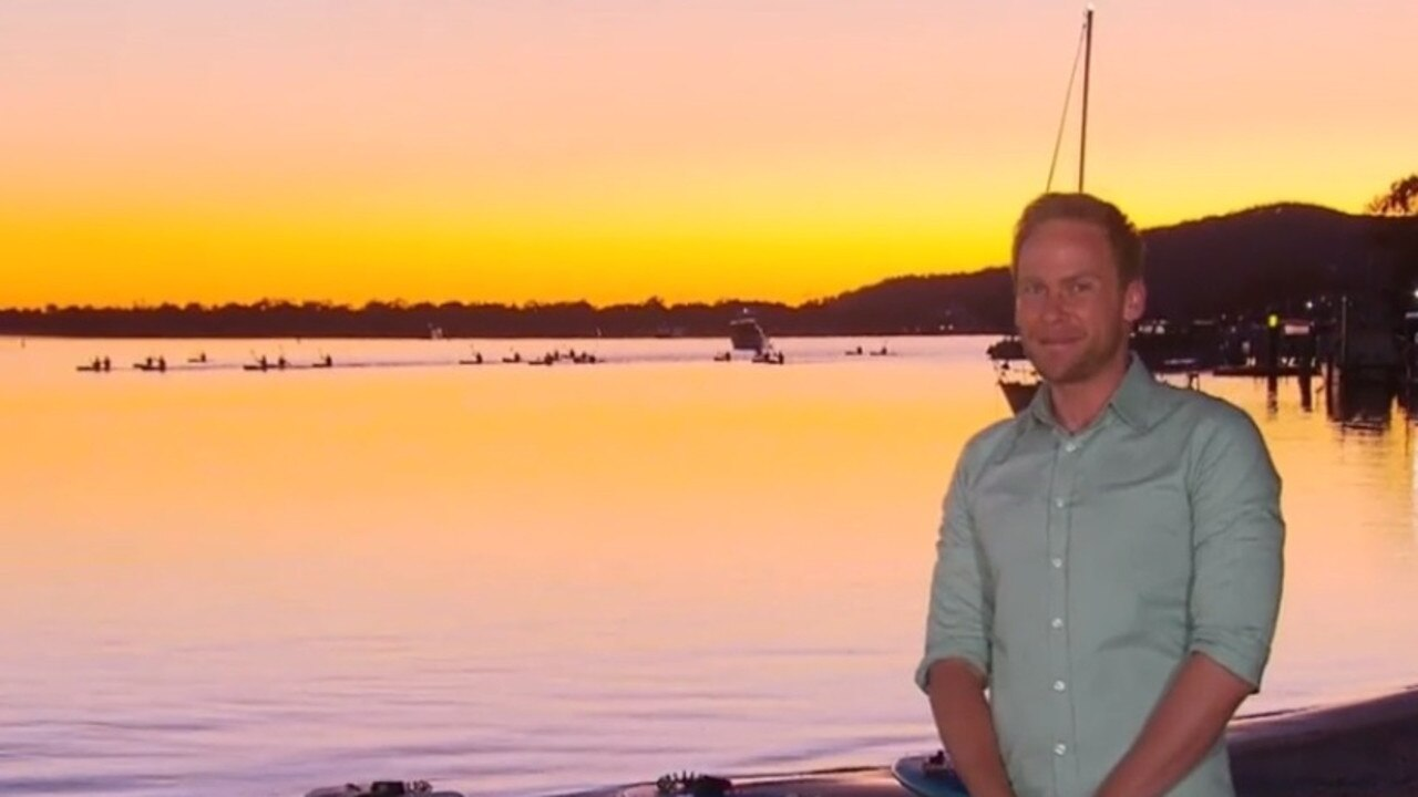 The Today Show weatherman Tim Davies at the Noosa River this week for an early morning live cross.