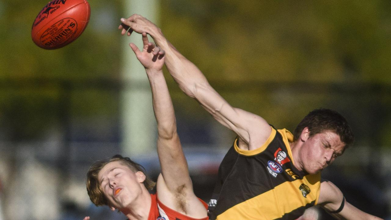 Grafton Tigers take on Sawtell Saints in Australian Rules at Ellem Oval in 2018. The Tigers are on a roll in 2020.