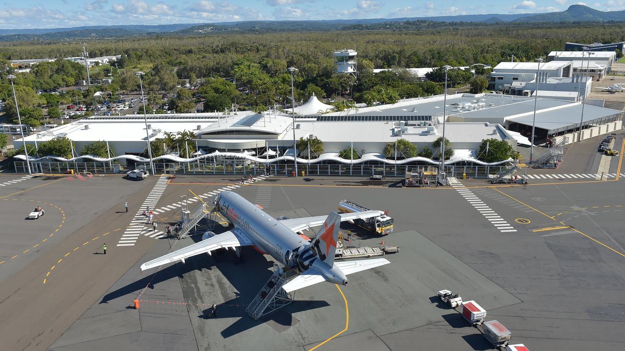 Aerials of the Sunshine Coast. Jetstar plane in front of the Sunshine Coast terminal, Sunshine Coast Airport.