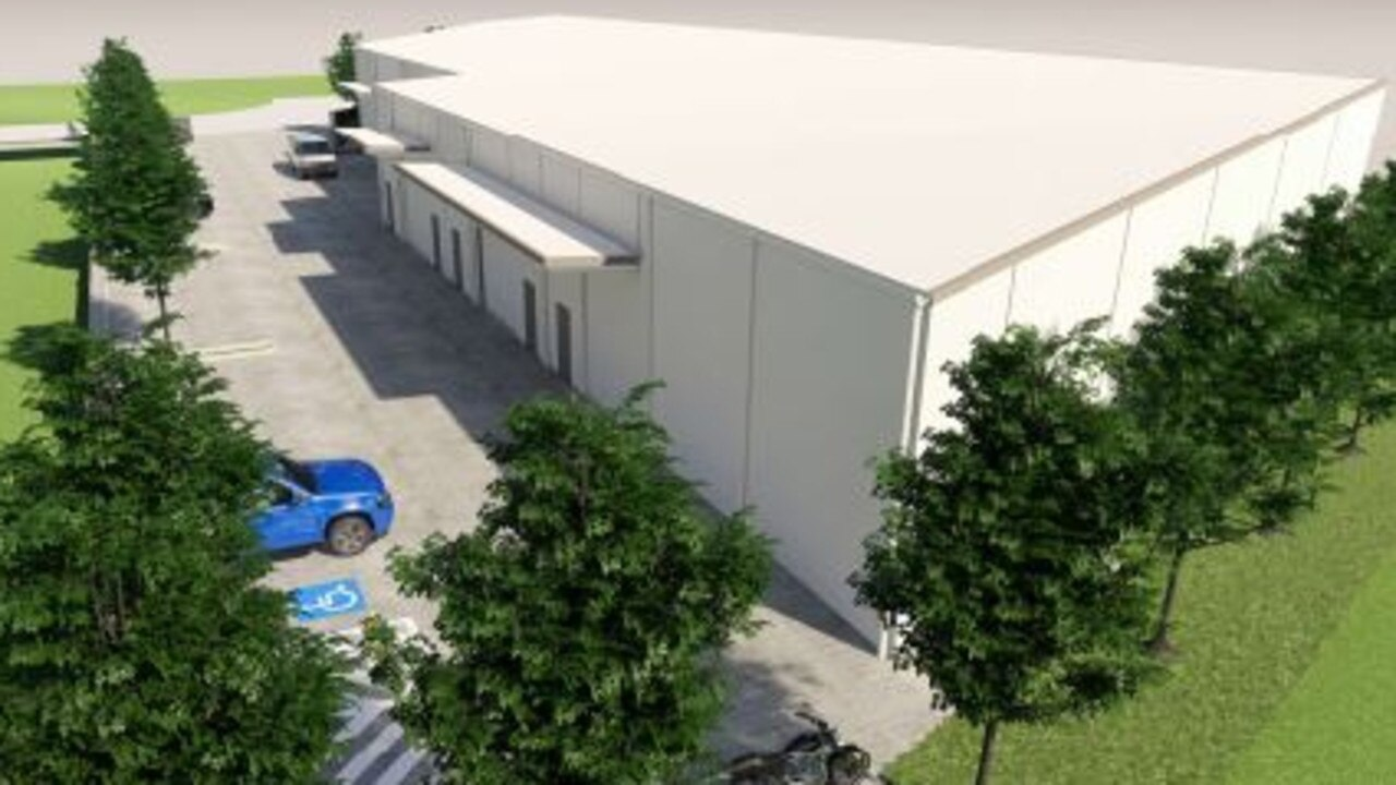 NEW SPACE: Artist impression of the proposed warehouse that D & K Moore Pty Ltd and MPL Family Investments, directed by Denis Moore, have applied to build a cafe and gym in the first tenancy at Yandina. Photo: BRD Group