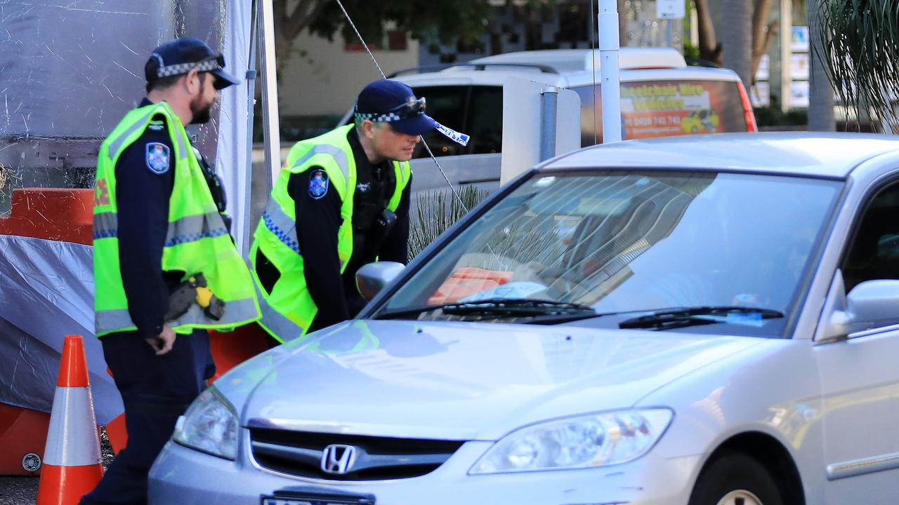 Police conducting checks at Griffith Street in Coolangatta. Picture: Scott Powick.