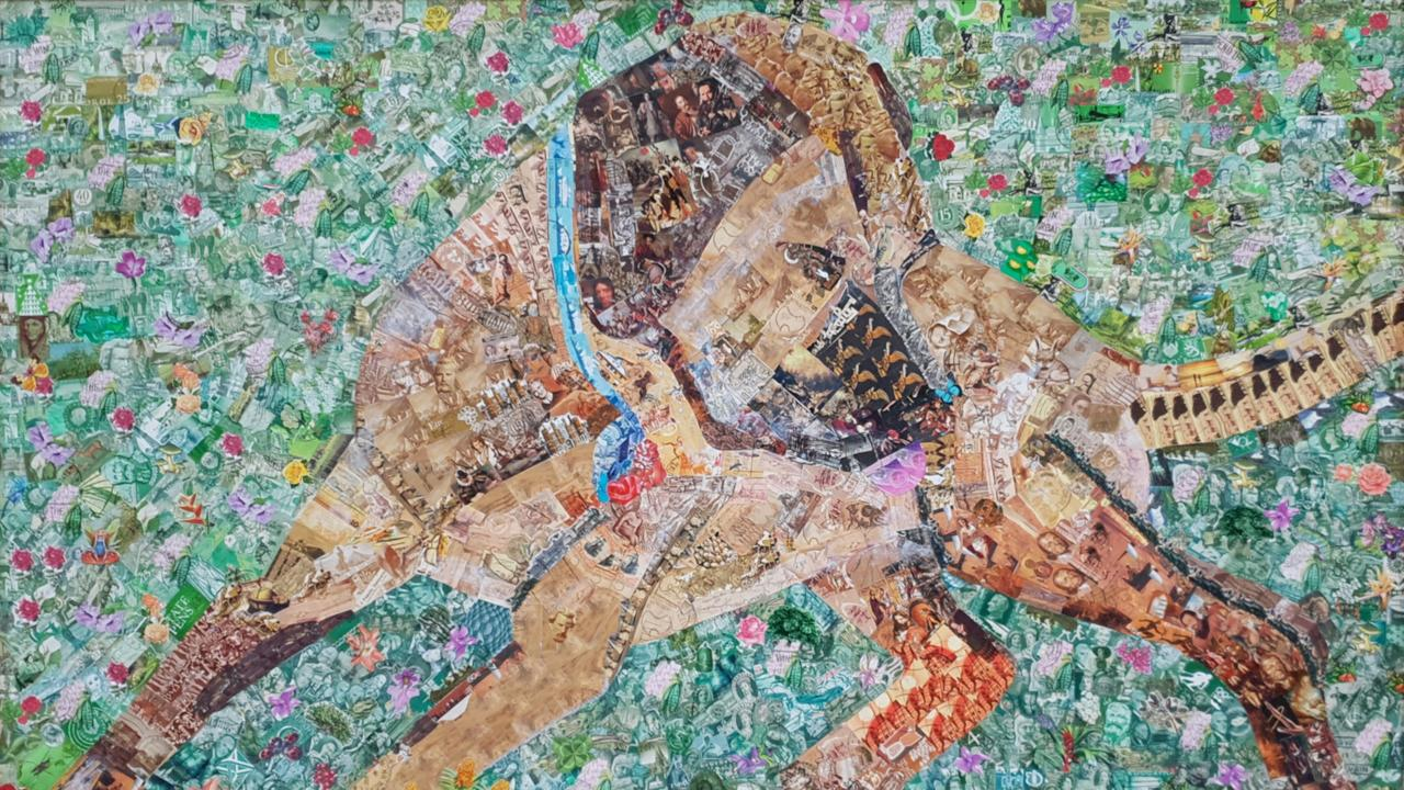 INCREDIBLE: Marlie Oakley's piece entitled Sunday, using recycled postage stamps (73x104cm.)