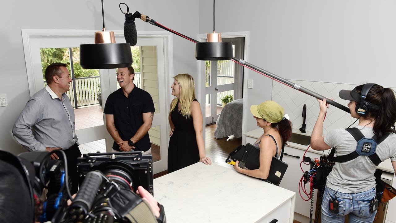 House Hunters International filming in Townsville with local talent Gemma Sneyd and Ashley Rio, director Anita Poteri, Real Estate agent Martin McDonough, in a Queensland home that will feature on the show.