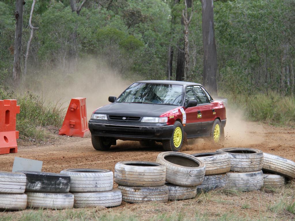 Darren Baker competing in his Subaru Impreza at Central Coast Car Club's dirt khanacross round 2 at Benaraby Motorsports Complex. Picture: Rodney Stevens