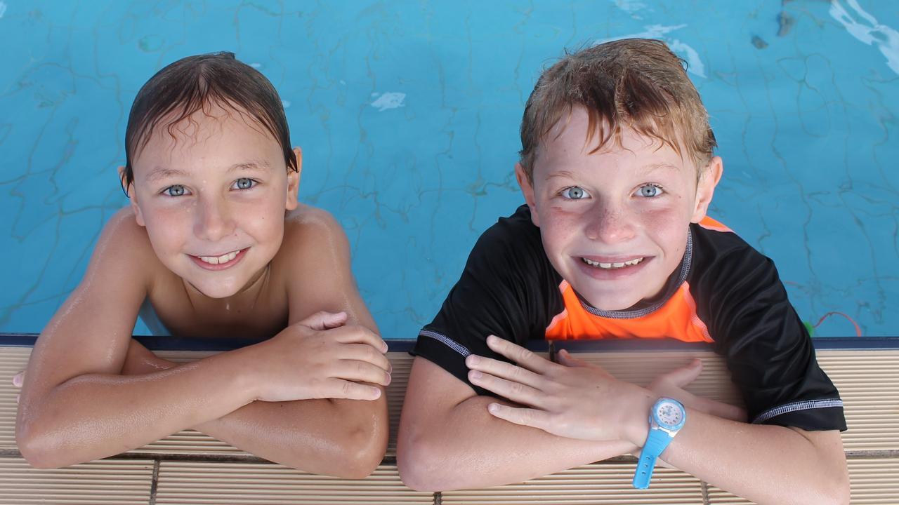 Jackson Mackay and Ashton Vitale at Moranbah's Greg Cruickshank Aquatic Centre, which will be given a $65,000 facelift.