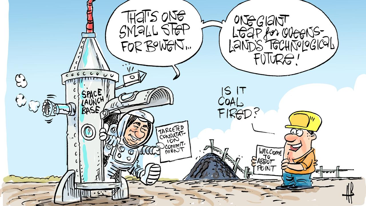 Cartoonist Harry Bruce's take on the proposal for a rocket launch site at Abbot Point.