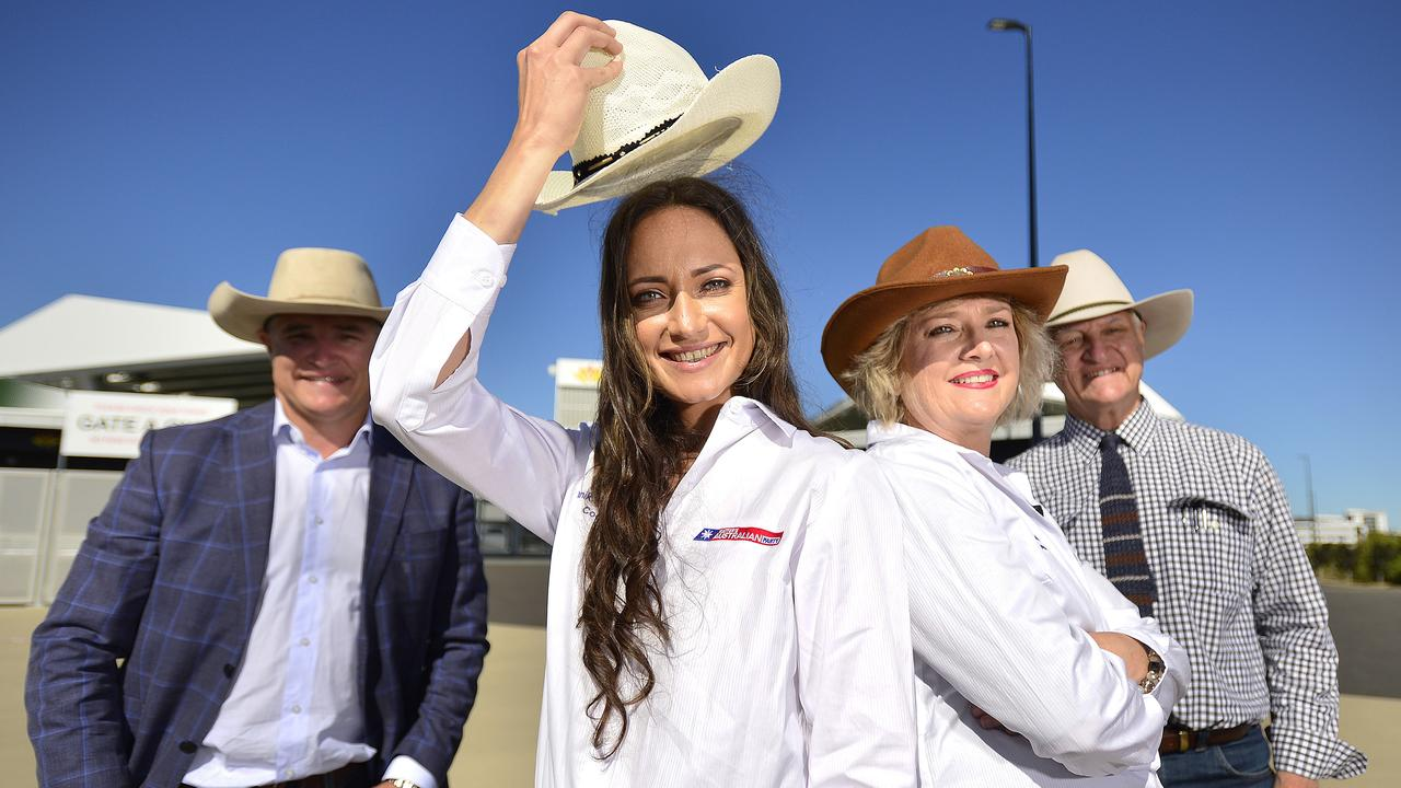 Traeger MP Robbie Katter and Kennedy MP Bob Katter with KAP Candidate for Thuringowa Julianne Wood and candidate for Cook Tanika Parker. Bob Katter will sign and handout Cowboys hats at the next North Queensland Cowboys home game. PICTURE: MATT TAYLOR.