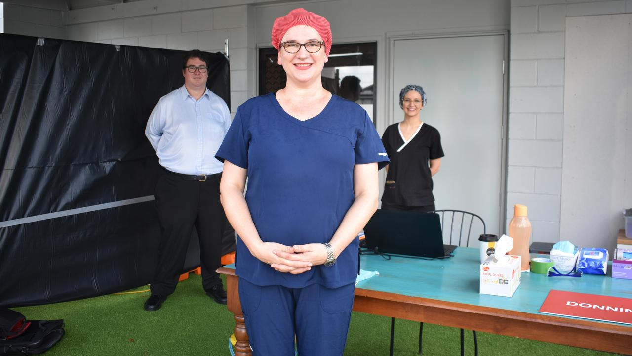 Dawson MP George Christensen, Health on Central GP Dr Nicole Higgins and Dr Kristiana Pederick at the front desk of the North Mackay COVID-19 testing clinic: Picture: Melanie Whiting
