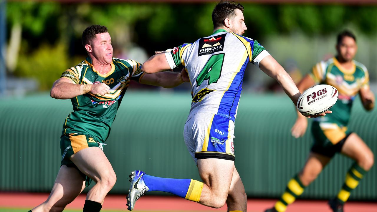 Foley Shield – Townsville v Cairns at Townsville Sports Reserve. Townsville's Ty Carucci offloads. Picture: Alix Sweeney