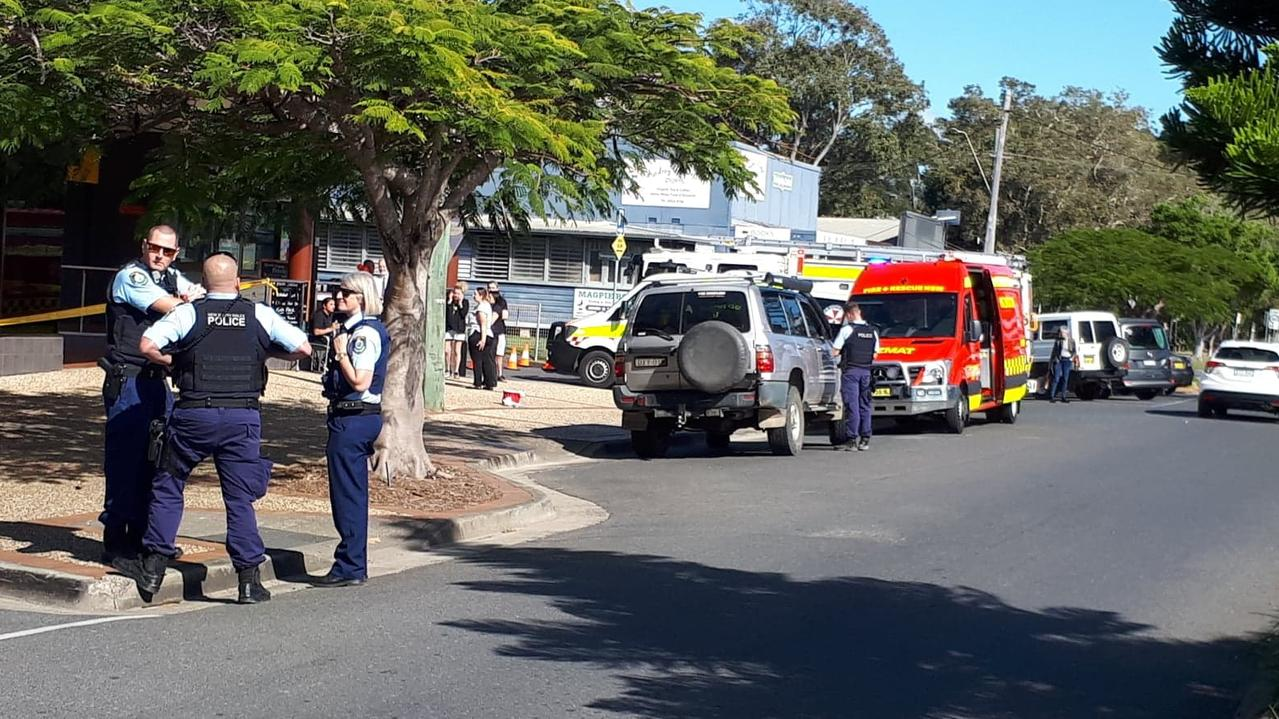 Emergency services responding to a suspicious package at Woolgoolga Post Office.