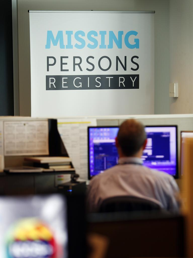 Inside the Missing Persons Registry in police headquarters at Parramatta Picture: Sam Ruttyn