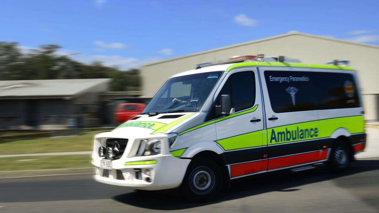 Paramedics rushed the elderly woman to hospital.