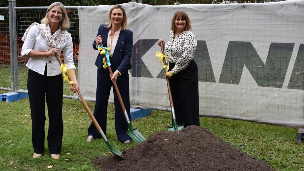 Mayor Clare Stewart with NoosaCare president Ann Harrap and CEO Megan D'Elton turning the first sod.