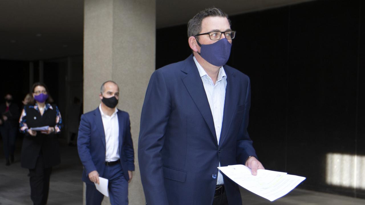Victorian Premier Daniel Andrews arrives at a press conference to announces stronger restrictions in Victoria. Picture: David Geraghty