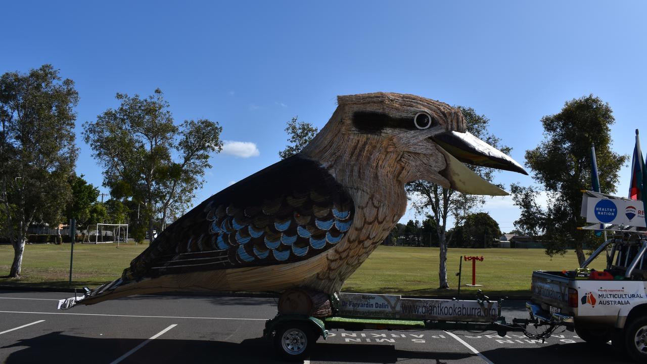 SIGHT TO SEE: The Giant Kookaburra arrives at St Luke's school. Picture: Rhylea Millar.