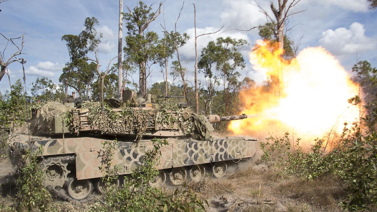 An Australian Army 1st Armoured Regiment M1A1 Abrams tank fires a 120mm round during the Warfiighter activity at Shoalwater Bay Training Area. CQ businesses are encouraged to apply for new work packages to upgrade the training facility.