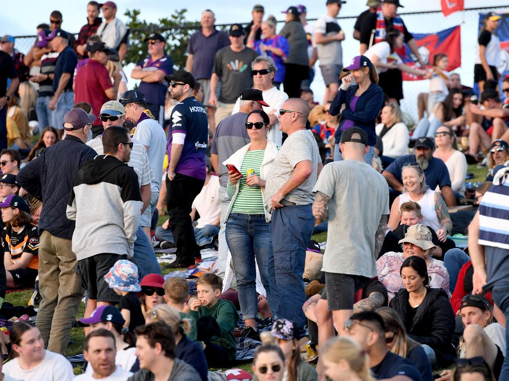 Crowds during the round 12 NRL match between the Melbourne Storm and the Newcastle Knights.