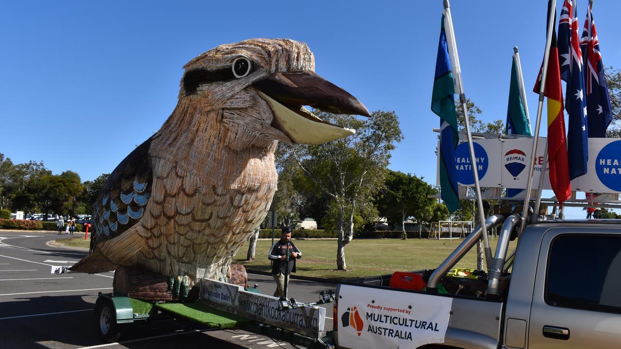 BIG BIRD: The Giant Kookaburra arrives at St Luke's school during the Bundaberg visit. Picture: Rhylea Millar.