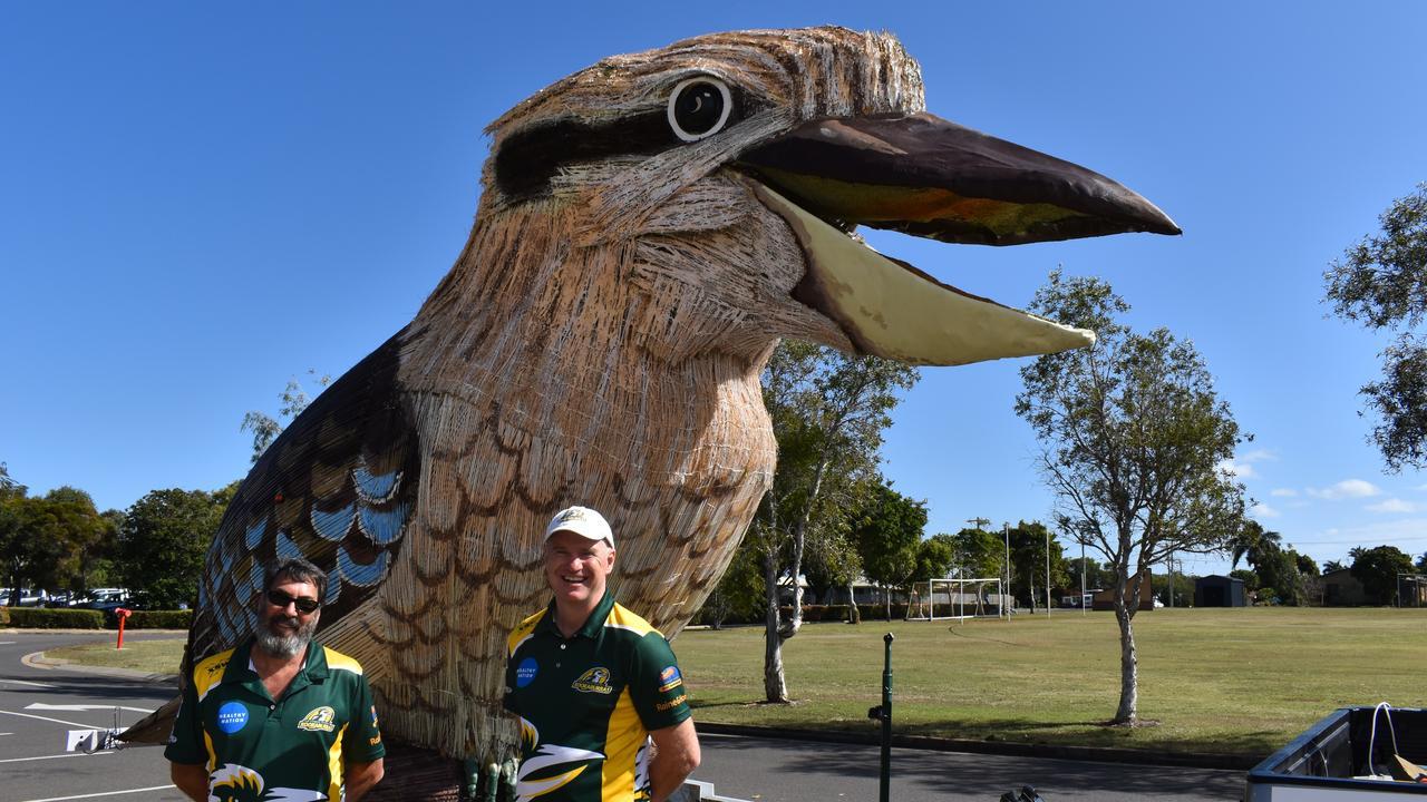 ALL SMILES: President of The Kookaburras Junior AFL league Brett Binstead and coaching coordinator. Picture: Rhylea Millar.