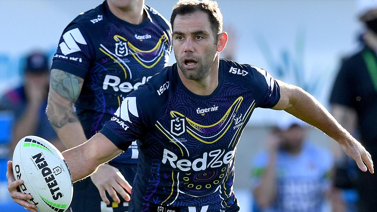 Cameron Smith of the Storm in action during the round 12 NRL match between the Melbourne Storm and the Newcastle Knights.