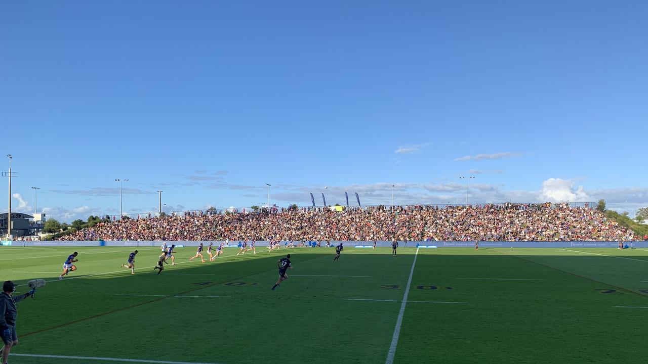 Kalyn Ponga kicks off the NRL match between Melbourne Storm and Newcastle Knights at Sunshine Coast Stadium.